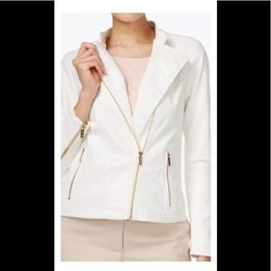 Calvin Klein Tan Faux Leather Linen Moro Jacket S